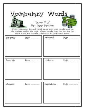 """""""Lawn Boy"""", by Gary Paulsen, Vocabulary Word Packet"""