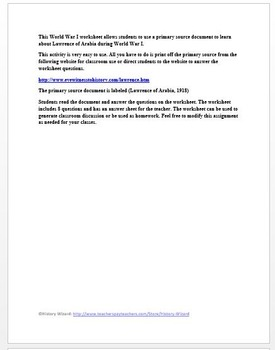 Lawrence of Arabia World War I Primary Source Worksheet