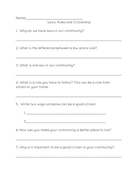 Laws, Rules and Citizenship Quiz