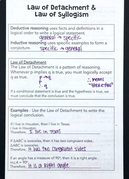 Laws of Detachment and Syllogism Foldable Notes