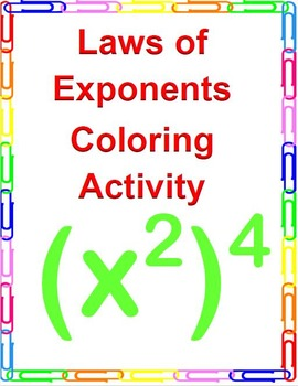 Laws of Exponents Coloring Activity.  CCSS 8.EE.A.1