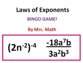 Laws of Exponents BINGO (Mrs Math)