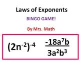Laws of Exponents BINGO (Mrs Math)