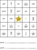Laws of Exponents Bingo