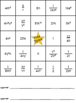 Laws of Exponents Bingo