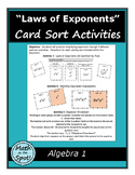 Laws of Exponents Card Sort Activities