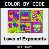 Laws of Exponents - Color by Code / Coloring Pages - Birthday