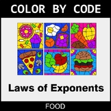 Laws of Exponents - Color by Code / Coloring Pages - Food