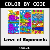 Laws of Exponents - Color by Code / Coloring Pages - Ocean