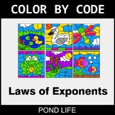 Laws of Exponents - Color by Code / Coloring Pages - Pond Life