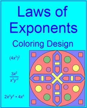 EXPONENTS:  LAWS OF EXPONENTS - COLORING ACTIVTY