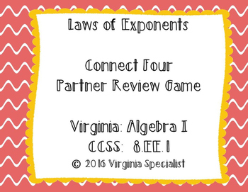 Laws of Exponents Connect Four Review Game