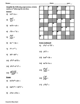 Laws of Exponents Cross-Number Puzzle