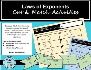 Laws of Exponents Cut and Match Activities