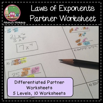 Laws of Exponents - Differentiated Partner Worksheet