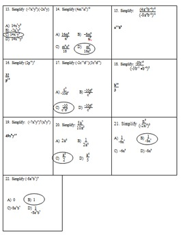 Laws of Exponents Exam (Mrs Math)