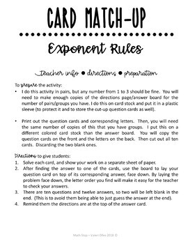 Laws of Exponents - Exponent Rules Card Match Up