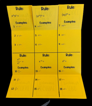 Laws of Exponents/ Exponent Rules (Foldable)