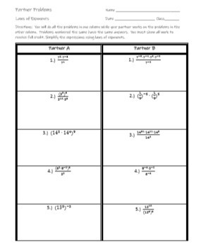 Laws of Exponents - Exponent Rules - Partner Worksheet