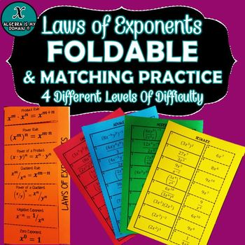 Laws of Exponents FOLDABLE & INB Matching Activity (4 Levels of Difficulty)