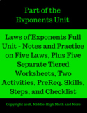 Laws of Exponents Full Unit - All Student Notes, Worksheets, and Extras