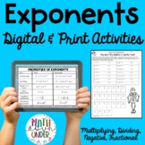 Exponent Rules - Laws of Exponents - Activity Pack!