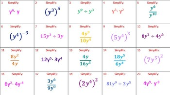 Laws of Exponents Matching Activity