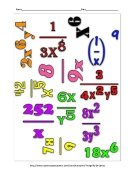 Laws of Exponents Math Cloud *Freebie*