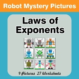 Laws of Exponents - Math Mystery Pictures / Color By Numbe