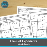 Laws of Exponents Math No Prep Review Worksheets