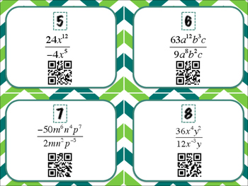 Laws of Exponents Mixed Review QR Code Task Cards