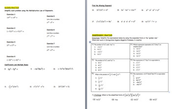 Laws of Exponents Multiplication