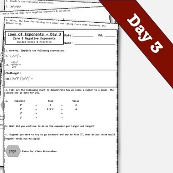Exponents Rules - Laws of Exponents Notes & Activity Bundle