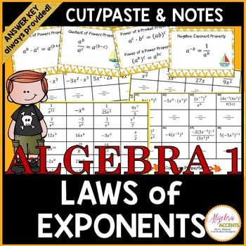 Exponent Rules Cut & Paste Activity with Notes