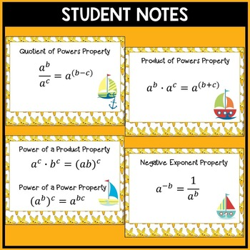 Exponent Rules / Laws of Exponents Cut & Paste Activity with Notes