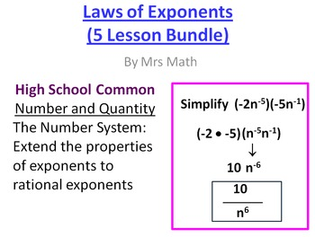 Laws of Exponents Power Point 5 Lesson Pack