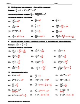 Laws of Exponents Practice Worksheet II
