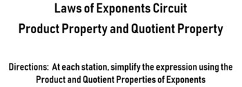 Laws of Exponents:  Product and Quotient Property Circuit