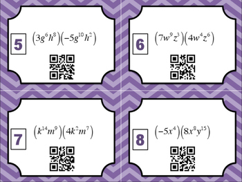 Laws of Exponents QR Code Task Cards