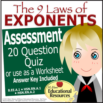 Laws of Exponents Quiz - Test - Assessment - Worksheet - 20 Questions
