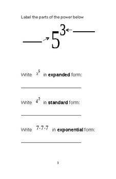 Laws of Exponents Review Booklet