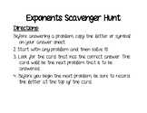 Laws of Exponents Scavenger Hunt (Product, Power, Quotient)