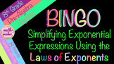 Laws of Exponents ~ Simplifying Exponential  Expressions ~ BINGO