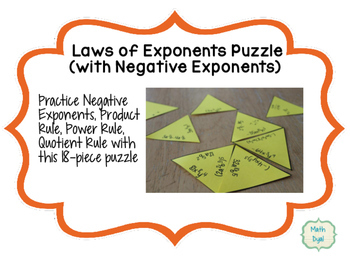 Laws of Exponents With Negative Exponents Puzzle