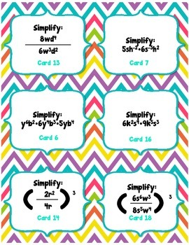 Laws of Exponents Task Cards