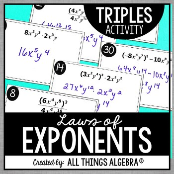 Exponent Rules - Laws of Exponents - Triples Activity