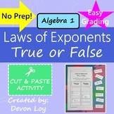 Laws of Exponents: True or False Activity