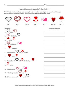 Laws of Exponents Valentine's Day Activity