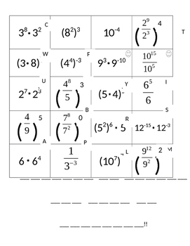 Laws of Exponents Worksheet