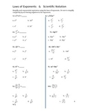 Laws of Exponents and Scientific Notation